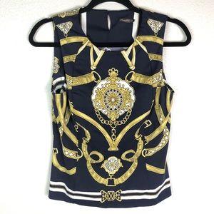 J. McLaughlin Catalina Cloth Navy Gold Chain Top